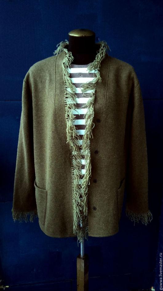 """Пиджаки, жакеты ручной работы. Ярмарка Мастеров - ручная работа. Купить Жакет """"С бахромой"""". Handmade. Хаки, большие размеры"""