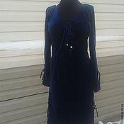 Одежда ручной работы. Ярмарка Мастеров - ручная работа Платье синий бархат. Handmade.