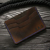 Сумки и аксессуары handmade. Livemaster - original item Compact men`s leather wallet. Thin leather cardholder. Handmade.