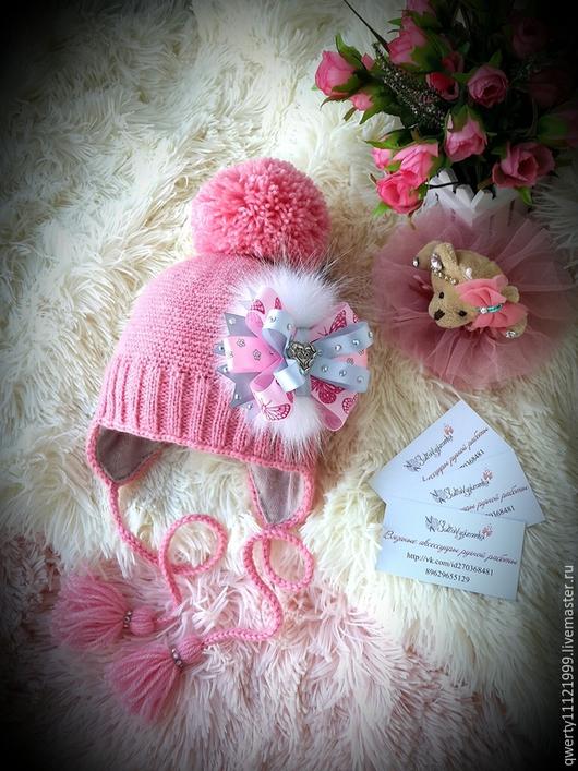 """Шапки и шарфы ручной работы. Ярмарка Мастеров - ручная работа. Купить Шапка """"Пыльная роза"""". Handmade. Розовый, шапка для девочки"""