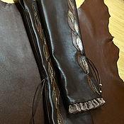 Аксессуары handmade. Livemaster - original item Dark Chocolate Leather Fingerless Long Gloves. Handmade.