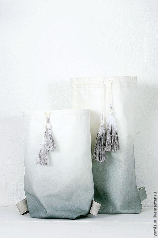 Рюкзаки ручной работы. Ярмарка Мастеров - ручная работа. Купить Рюкзак окрашеный градиентом, сшитый вручную. С бретельками веревками.. Handmade.
