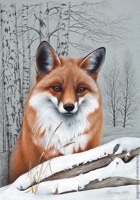 """Животные ручной работы. Ярмарка Мастеров - ручная работа. Купить Картина """"Лисица"""". Handmade. Графика, лисица, животные, звери, анималистика"""