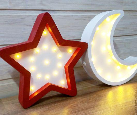 Освещение ручной работы. Ярмарка Мастеров - ручная работа. Купить Комплект - Ночное небо. Луна+звезда. Handmade. Комбинированный, светильник, для детей