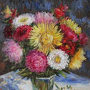 Картины и панно handmade. Livemaster - original item Oil painting of Aster. 40h30 cm. In the frame.. Handmade.