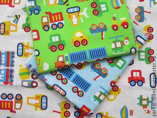 """Шитье ручной работы. Ярмарка Мастеров - ручная работа. Купить Хлопок """"Транспорт"""" (арт.3353) Корея. Handmade. Разноцветный, хлопок"""