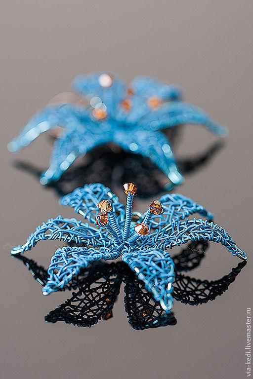 """Серьги ручной работы. Ярмарка Мастеров - ручная работа. Купить Серьги """"Blue Lily"""". Handmade. Голубой, голубые серьги, подарок"""