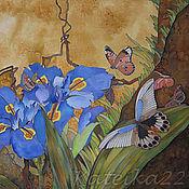 """Картины и панно ручной работы. Ярмарка Мастеров - ручная работа Картина-батик """"Бабочки и ирисы"""". Handmade."""