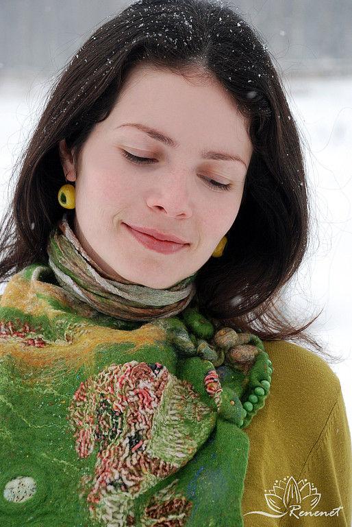 """Шейный платок - бактус """"Зеленый дом"""", Шарфы, Смоленск,  Фото №1"""