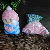 """Мыло ручной работы. Ярмарка Мастеров - ручная работа Мыло сувенирное набор""""Скоро Новый год!"""" Машинка с Ёлкой. Handmade."""