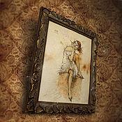 Картины и панно ручной работы. Ярмарка Мастеров - ручная работа Картина Винтажная кокетка (коричневый). Handmade.
