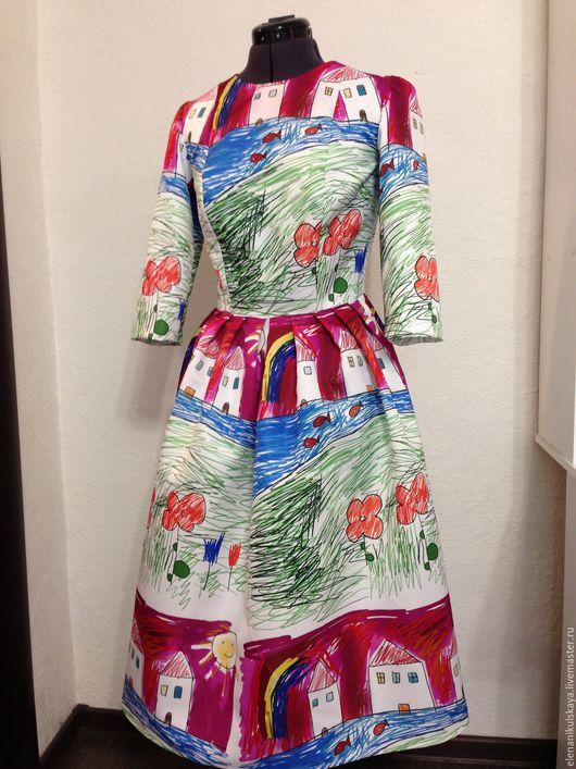 """Платья ручной работы. Ярмарка Мастеров - ручная работа. Купить Платье """"Домики"""". Handmade. Белый, платье с пышной юбкой"""
