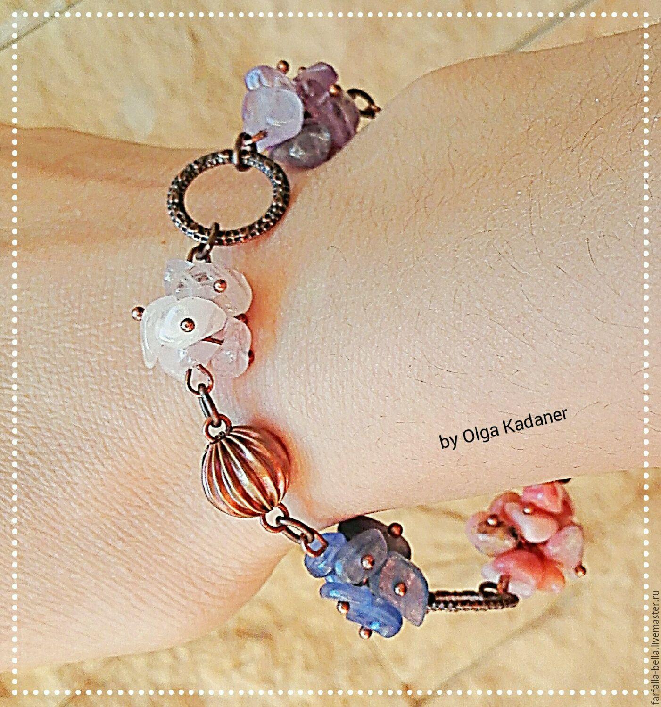"""Браслет """"Antares"""" из 5 видов натуральных камней, в медной фурнитуре"""