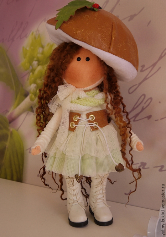 Коллекционные куклы ручной работы. Ярмарка Мастеров - ручная работа. Купить Текстильная куколка- малышка Грибулька. Handmade. Коричневый, трикотаж