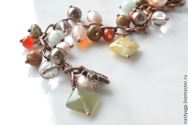 Charm bracelet made of natural stones Autumn day, Bead bracelet, Moscow,  Фото №1