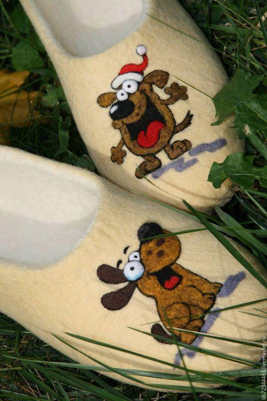 """Обувь ручной работы. Ярмарка Мастеров - ручная работа. Купить Тапочки """"ГАВ,гав"""". Handmade. Лимонный, обувь на заказ, шерсть"""