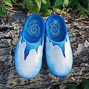"""Обувь ручной работы. Ярмарка Мастеров - ручная работа """"Затерянный мир"""", мужские домашние тапочки, войлок. Handmade."""
