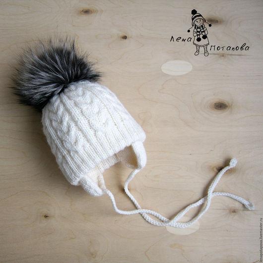Шапки и шарфы ручной работы. Ярмарка Мастеров - ручная работа. Купить Двойная шапка с помпоном из чернобурки. Handmade. Белый