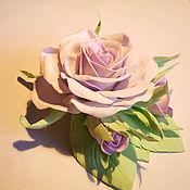 """Украшения ручной работы. Ярмарка Мастеров - ручная работа Заколка """"Розовая роза с бутонами"""" из фоамирана. Handmade."""