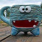 Посуда handmade. Livemaster - original item Sky-blue monster - large mug with a place for cookie. Handmade.