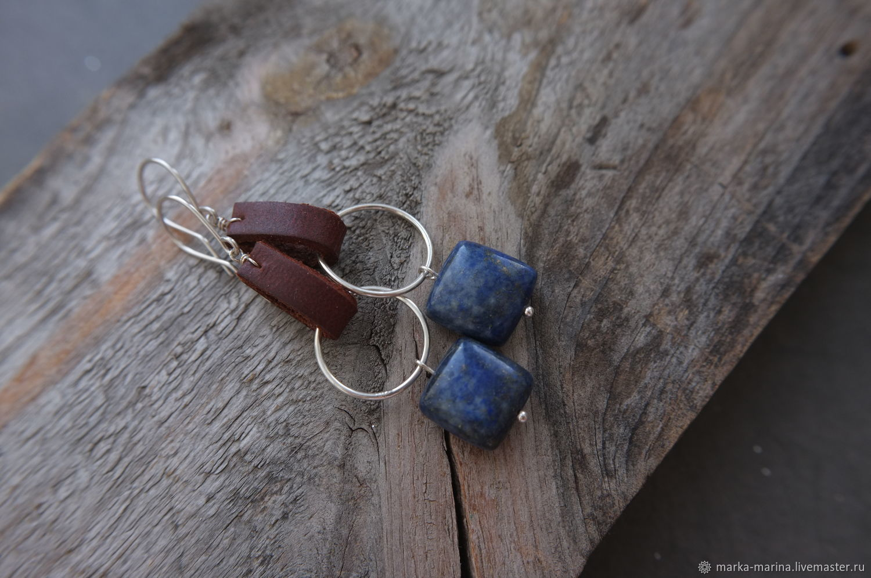 Earrings with lapis lazuli pads in silver, Earrings, Samara,  Фото №1