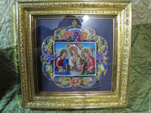Икона Святая Троица- бисер, рамка, стекло Цена 8 000 руб.