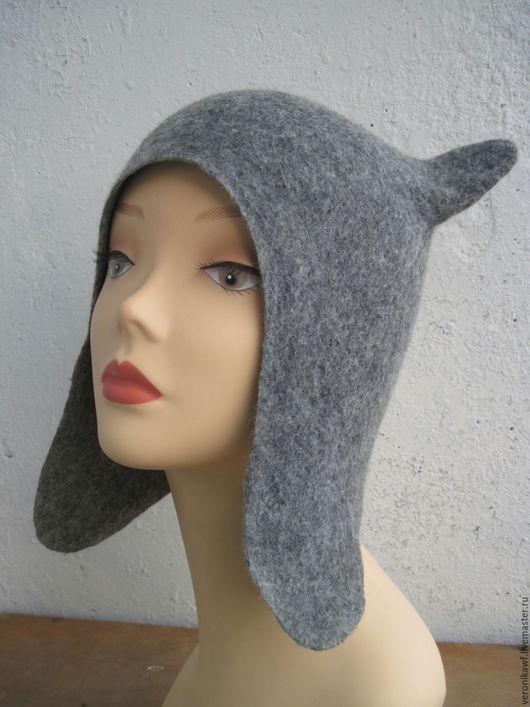 """Шапки ручной работы. Ярмарка Мастеров - ручная работа. Купить Шапка валяная """"Gray cat"""". Handmade. Серый"""