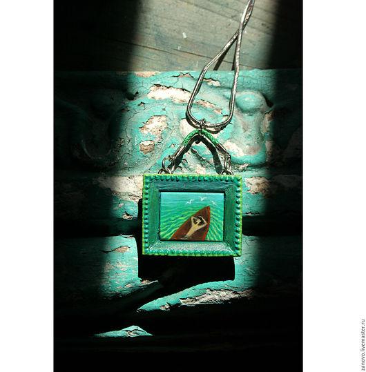 """Кулоны, подвески ручной работы. Ярмарка Мастеров - ручная работа. Купить Украшение на шею """"Человек в лодке"""" из серии """"Картинки с выставки"""". Handmade."""