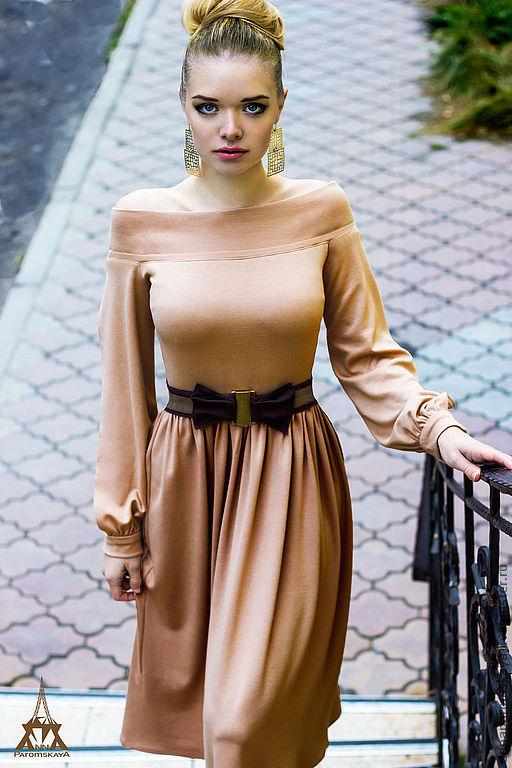 Платья ручной работы. Ярмарка Мастеров - ручная работа. Купить Платье (пояс в комплекте). Handmade. Бежевый, платье с длинным рукавом