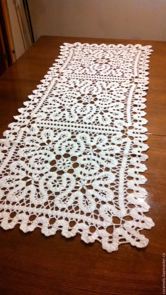 Текстиль, ковры ручной работы. Ярмарка Мастеров - ручная работа. Купить вязаная дорожка на стол. Handmade. Салфетка крючком