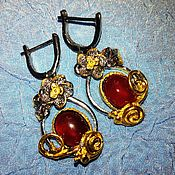 Украшения handmade. Livemaster - original item Earrings with natural garnet.. Handmade.