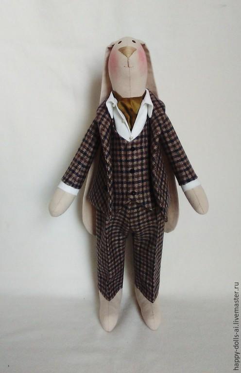 Куклы Тильды ручной работы. Ярмарка Мастеров - ручная работа. Купить Заяц. Handmade. Коричневый, заяц тильда большой, шерсть