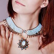 Украшения ручной работы. Ярмарка Мастеров - ручная работа Ажурное ожерелье с бирюзой. Handmade.