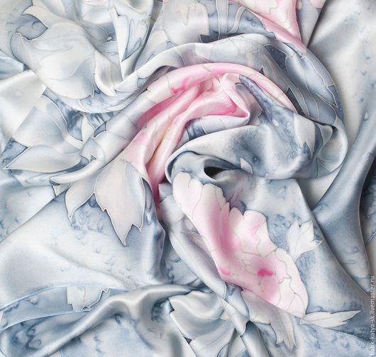 """Шали, палантины ручной работы. Ярмарка Мастеров - ручная работа. Купить Батик шелковый платок """"Безмятежность 2"""". Handmade. Батик"""