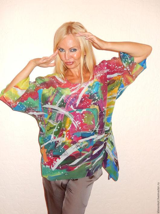 Блузки ручной работы. Ярмарка Мастеров - ручная работа. Купить блуза с хвостиком - Безумство в горах(горячий батик). Handmade. Комбинированный, блузка