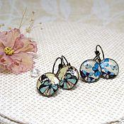 Украшения handmade. Livemaster - original item Vintage Earrings blue and Blue Butterflies on a selection of Boho Jewelry Resin. Handmade.