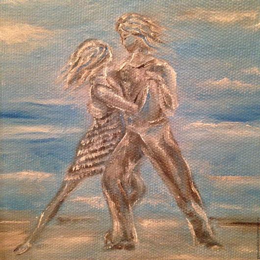 Картина Танго после дождя. Романтический сюжет. Возможно оформление картины в деревянную раму белого цвета за дополнительную плату.