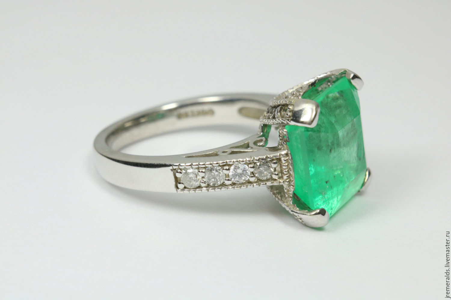 7.68tcw Solitaire Colombian Emerald & Diamond Engagement Ring 14K, Rings, West Palm Beach,  Фото №1