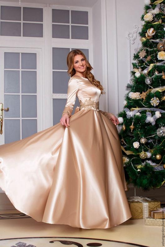 вечернее платье длинное в пол из шелка