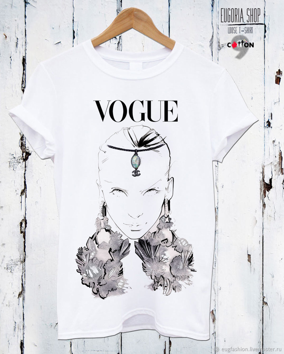 Cotton t-shirt with print 'VOGUE' - TEE10034CT, T-shirts, Sofia,  Фото №1