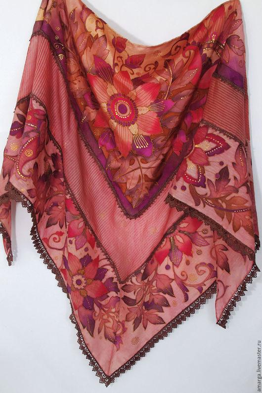 шелковый платок батик бактус, шелковый батик, батик бактус, батик платок на шелке