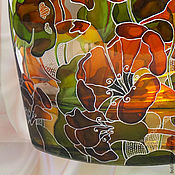 Посуда handmade. Livemaster - original item A bottle of Nasturtium, stained glass painting. Handmade.