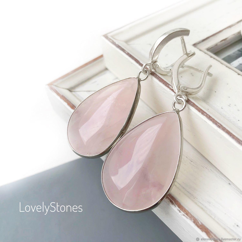 Earrings rose quartz silver, large earrings with pink quartz silver, Earrings, Yaroslavl,  Фото №1