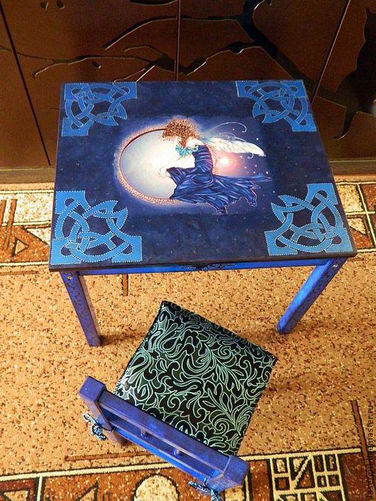 """Мебель ручной работы. Ярмарка Мастеров - ручная работа. Купить Стол и стул """"Ночная фея"""". Handmade. Тёмно-синий, деревянный"""