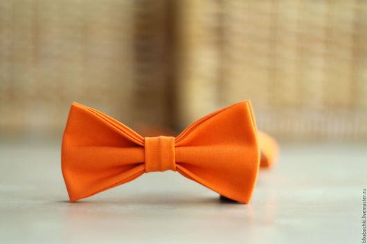 Галстуки, бабочки ручной работы. Ярмарка Мастеров - ручная работа. Купить Бабочка оранжевая однотонная детская/взрослая. Handmade. Оранжевый