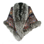 Аксессуары handmade. Livemaster - original item Posad shawl with fur. Handmade.