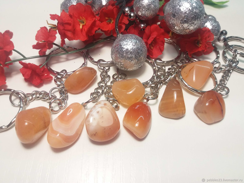 Брелок для ключей Агат розовый, натуральный камень, Брелок, Краснодар,  Фото №1