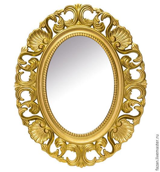 Зеркало настенное овальное цвет золото