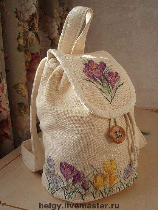 Рюкзаки ручной работы. Ярмарка Мастеров - ручная работа. Купить рюкзачок с вышивкой. Handmade. Рюкзак, крокусы, двунитка