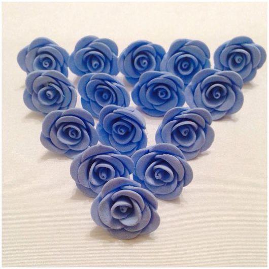 Материалы для флористики ручной работы. Ярмарка Мастеров - ручная работа. Купить Цветы голубые, 20 штук в наборе, ручная работа. Handmade.